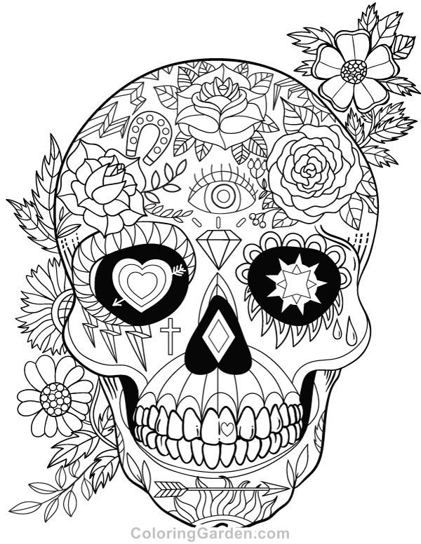 day of the dead skull coloring page - sugar skulls day of the dead coloring pages for