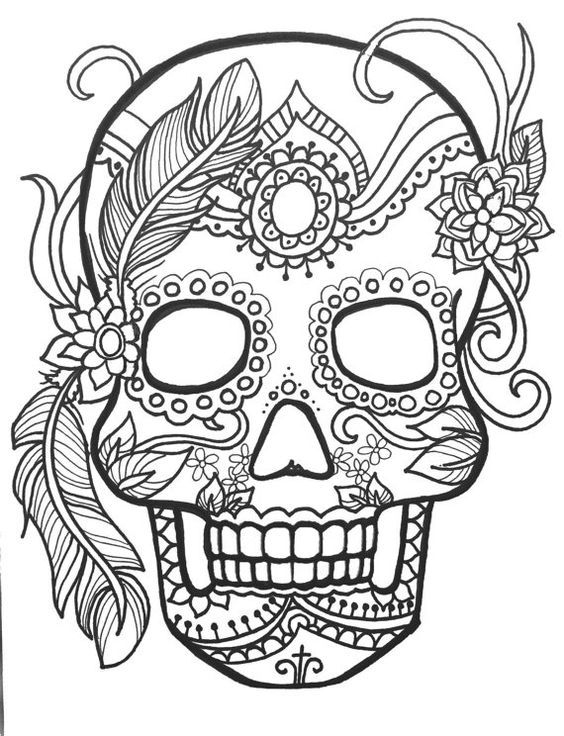 day of the dead skull coloring page - skull day of the dead coloring