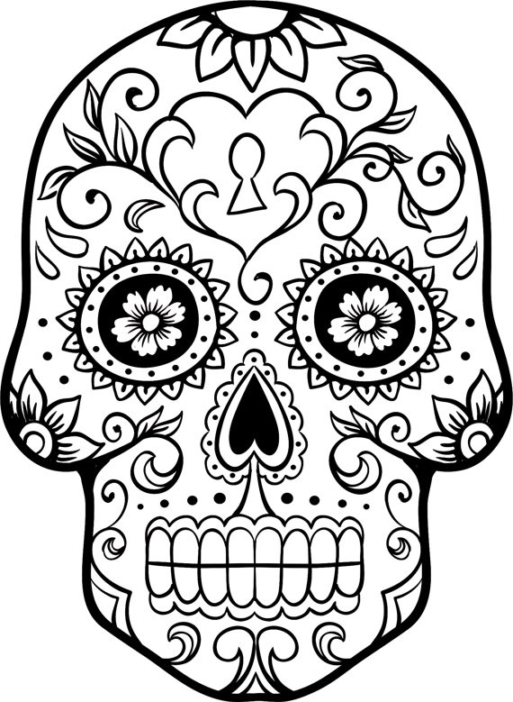 day of the dead skull coloring page - creative skull head sketch templates