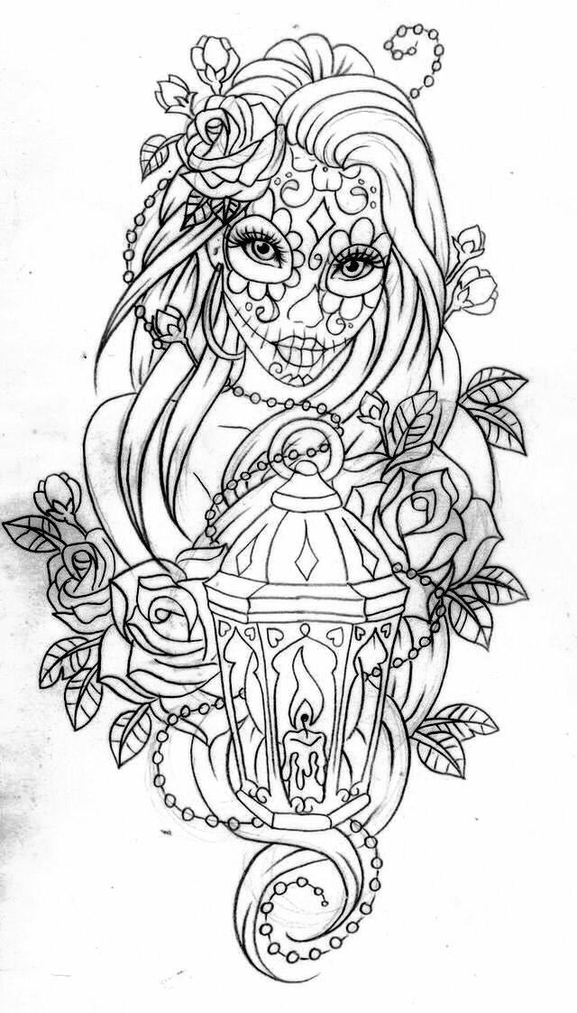 day of the dead skull coloring page -
