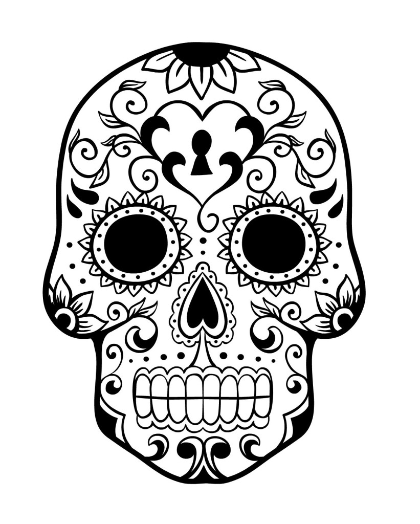 day of the dead skull coloring page - day of the dead history and free sugar skulls coloring pages
