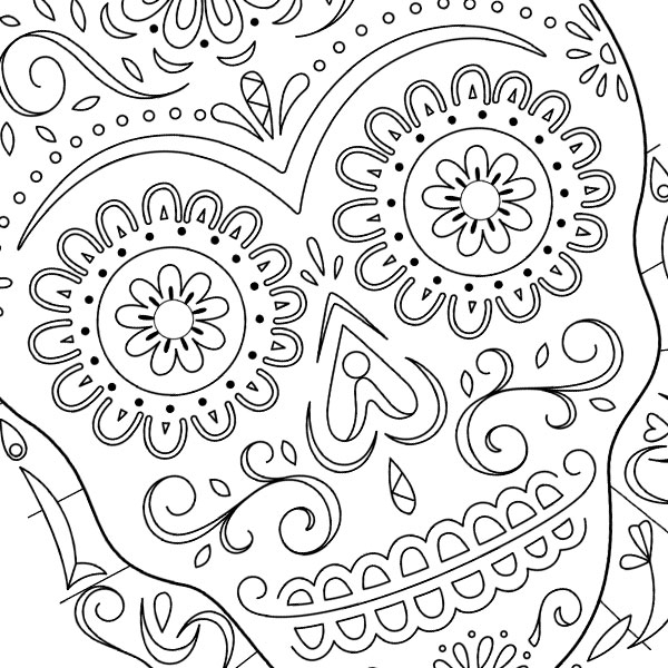 day of the dead skull coloring page - day of the dead sugar skull coloring page