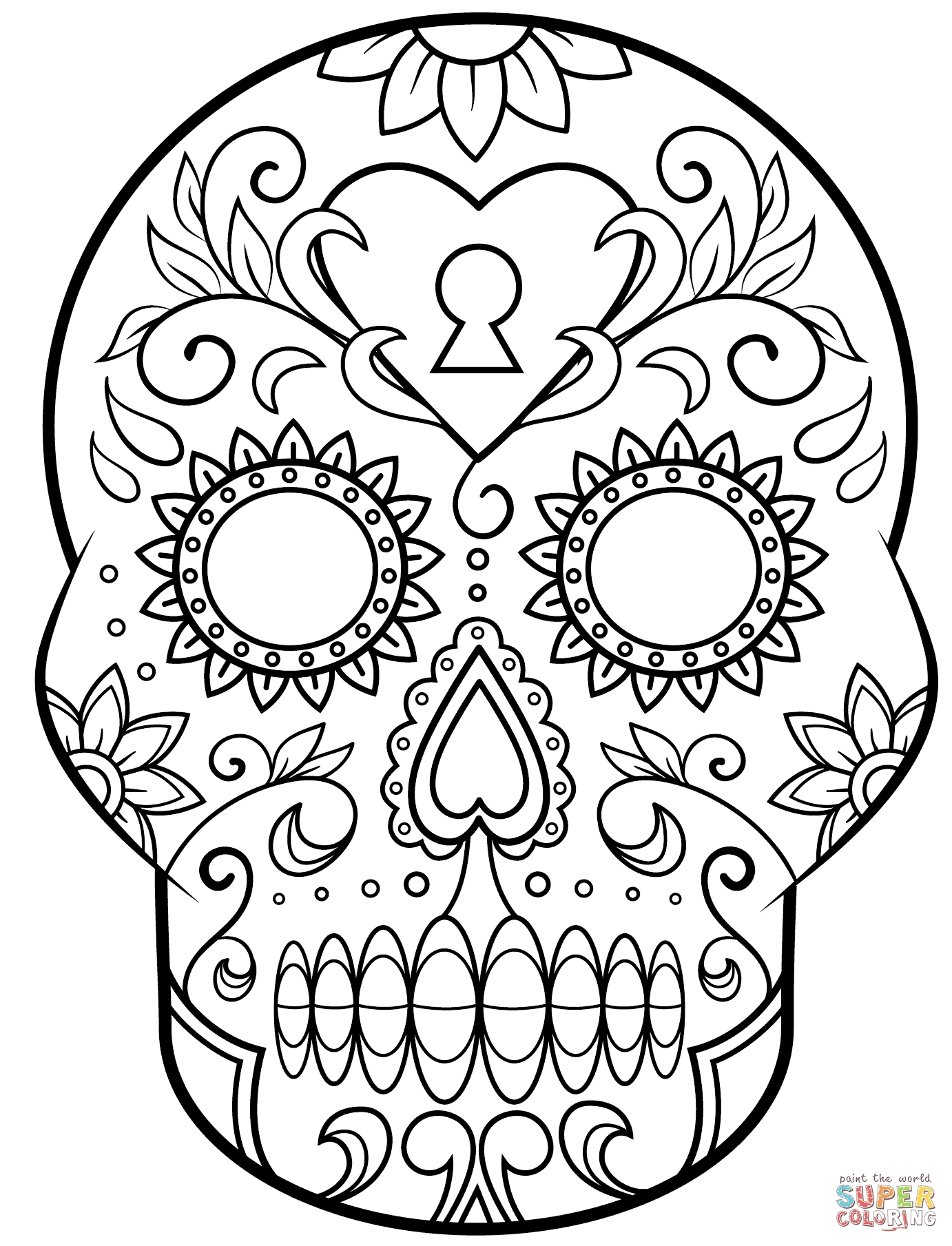 Day Of the Dead Skull Coloring Page - Day Of the Dead Sugar Skull