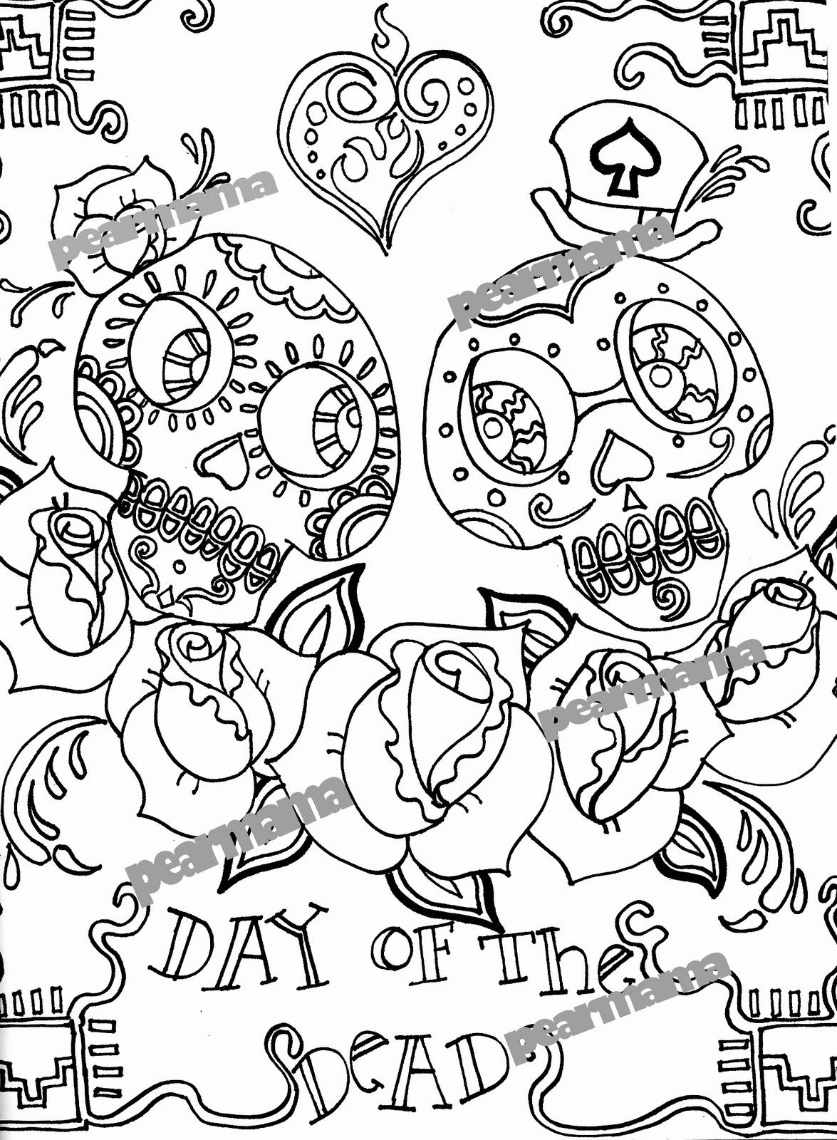 day of the dead skull coloring page - day of the dead sugar skulls coloring pages