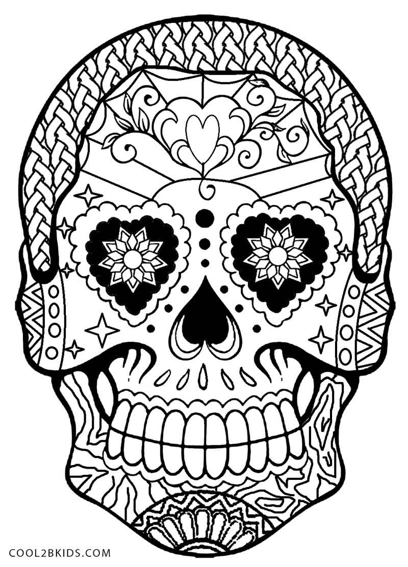day of the dead skull coloring page - skull coloring pages