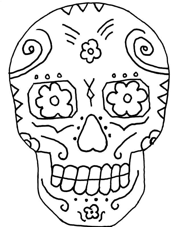 day of the dead skull coloring page - sugar skull coloring page