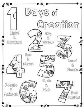 days of creation coloring pages - creation coloring pages