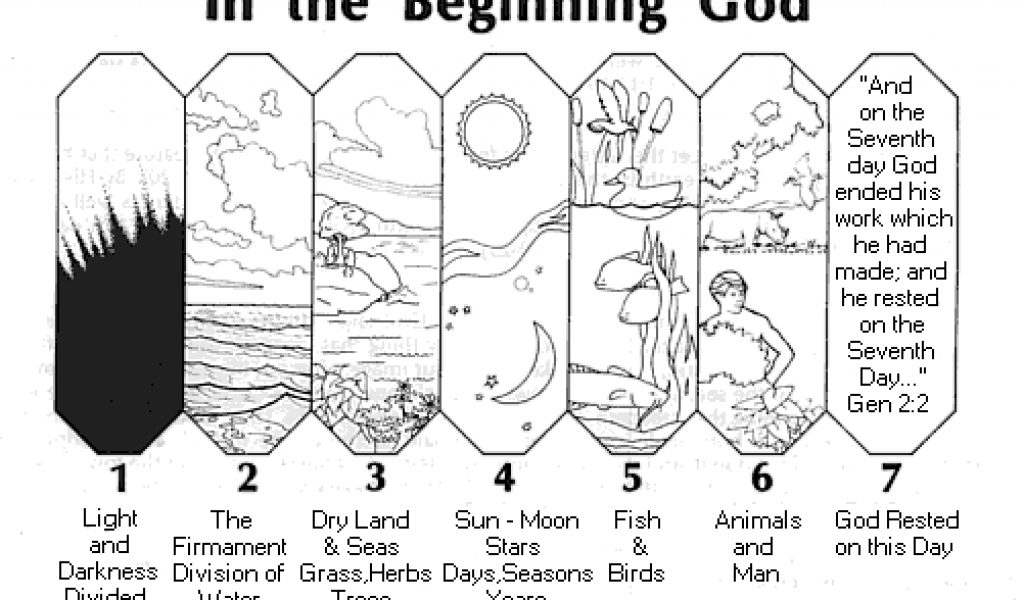 days of creation coloring pages - days of creation coloring booklet sketch templates