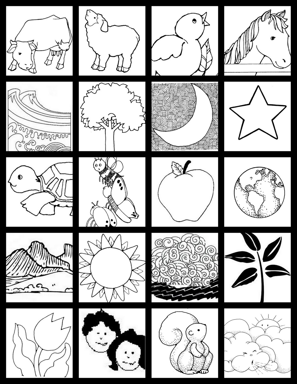 days of creation coloring pages - catechism notebook creation pages