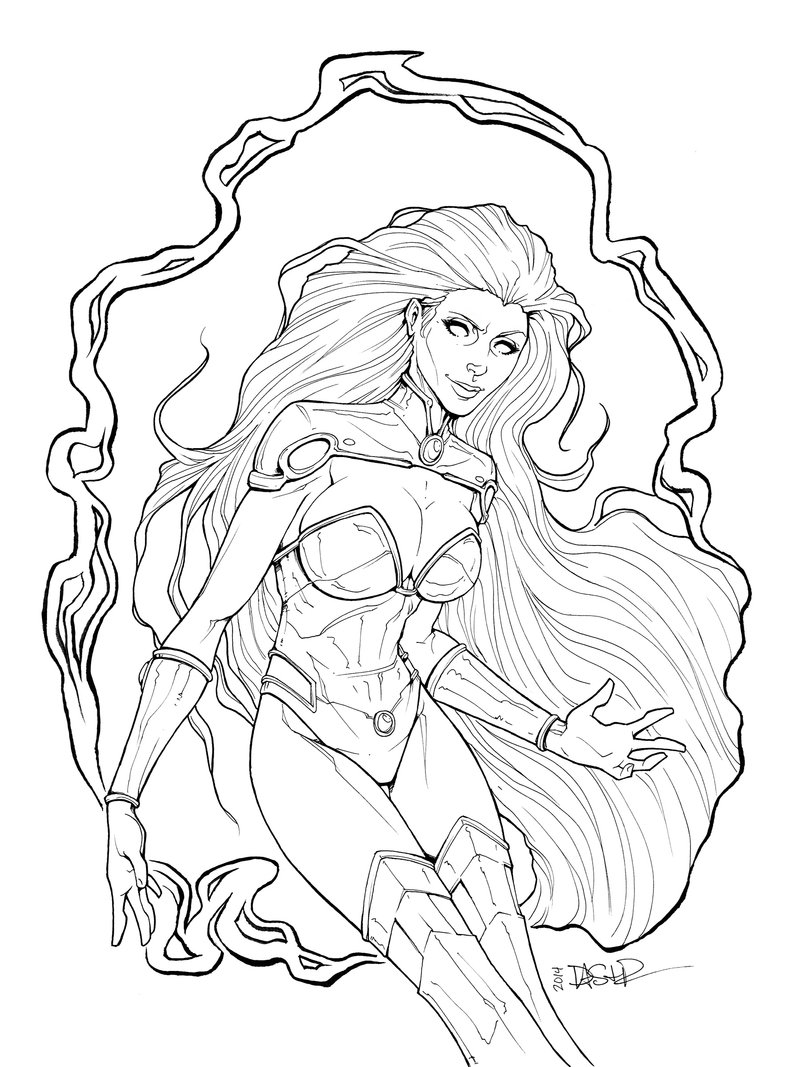 dc superhero girls coloring pages - starfire 2014 lines