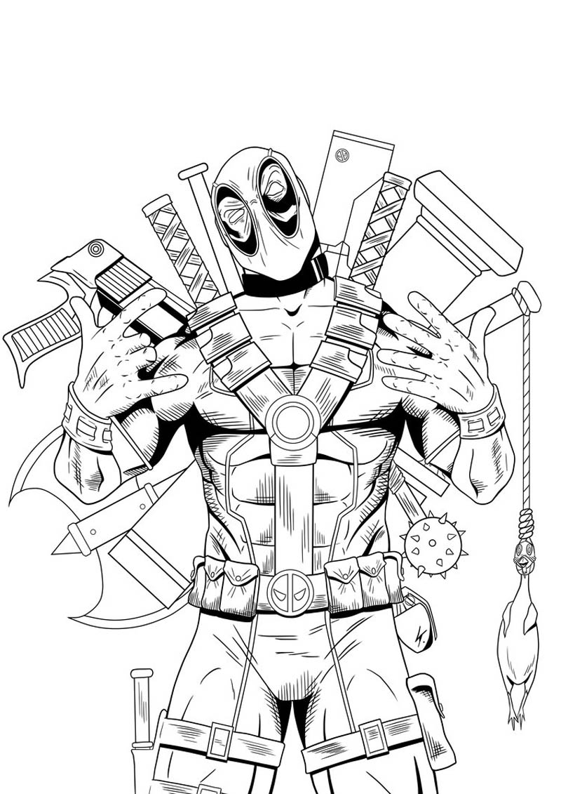 deadpool coloring pages - deadpool coloring pages for boys