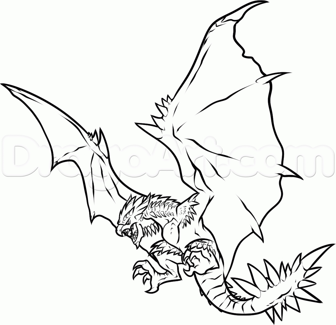 Demon Coloring Pages - Draw Rathalos Monster Hunter Step by Step Drawing