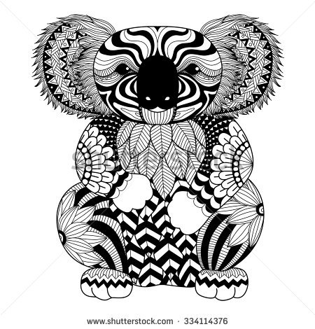 design coloring pages - draw a koala
