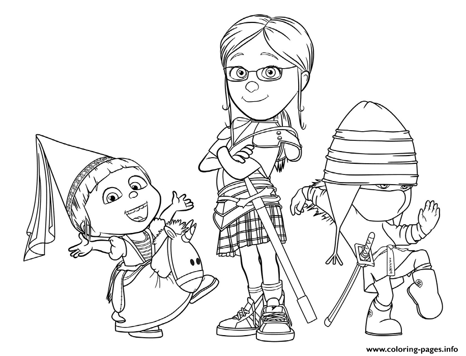 despicable me 3 coloring pages - despicable me 3 the girls printable coloring pages book