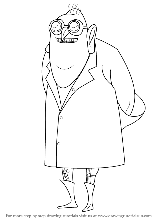 despicable me coloring pages - how to draw dr nefario from despicable me