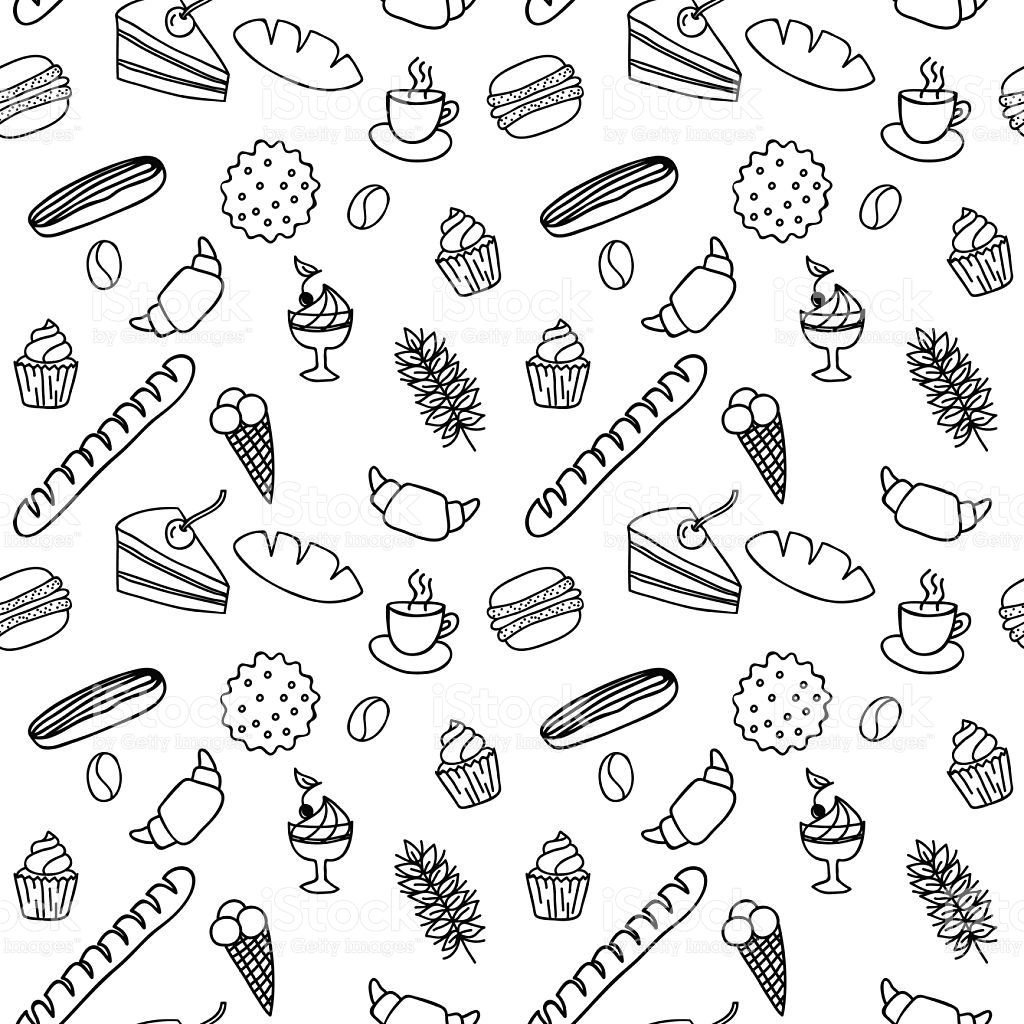 dessert coloring pages - hand drawn seamless pattern for adult coloring pages with bread gm