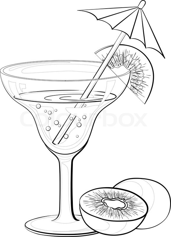 dessert coloring pages - glass with drink and kiwifruit contours vector