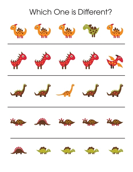 dinosaur coloring pages preschool - dinosaur which one is different printables 2