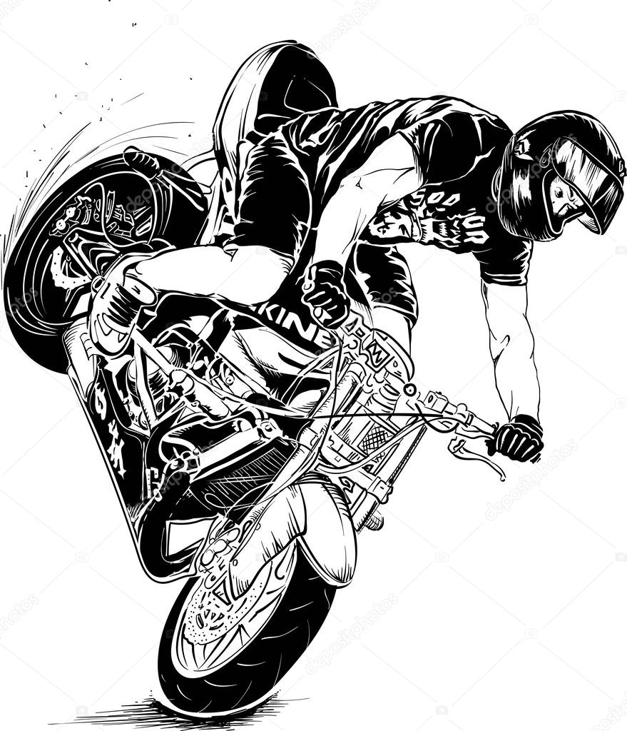 dirt bike coloring pages - stock illustration stunt motorcycle