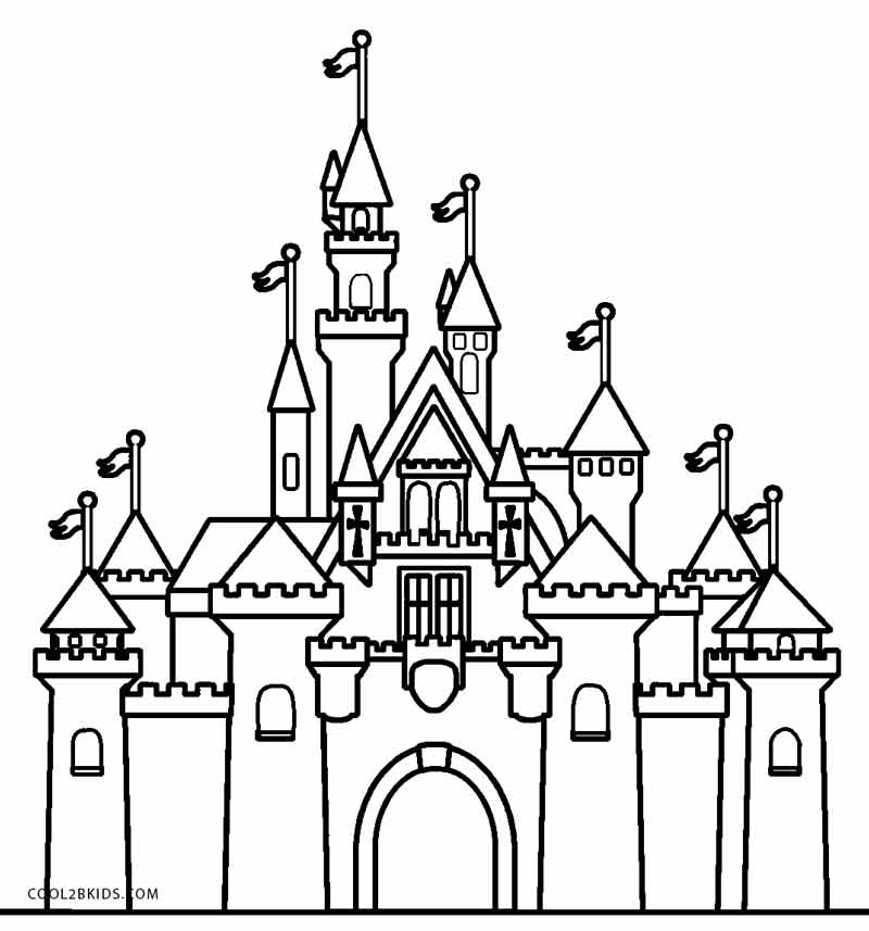 Disney Castle Coloring Pages - Easy Cinderella Castle Coloring Coloring Pages