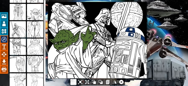 disney characters coloring pages - creer un coloriage star wars