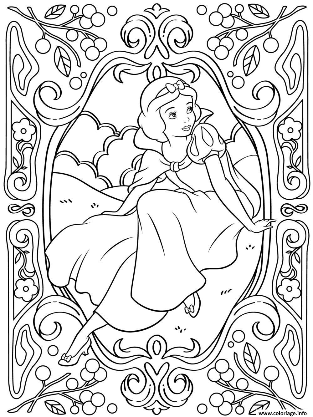 disney coloring pages frozen - mandala disney princesse blanche neige coloriage dessin