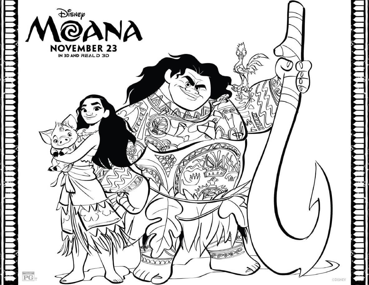 disney moana coloring pages - moana coloring pages