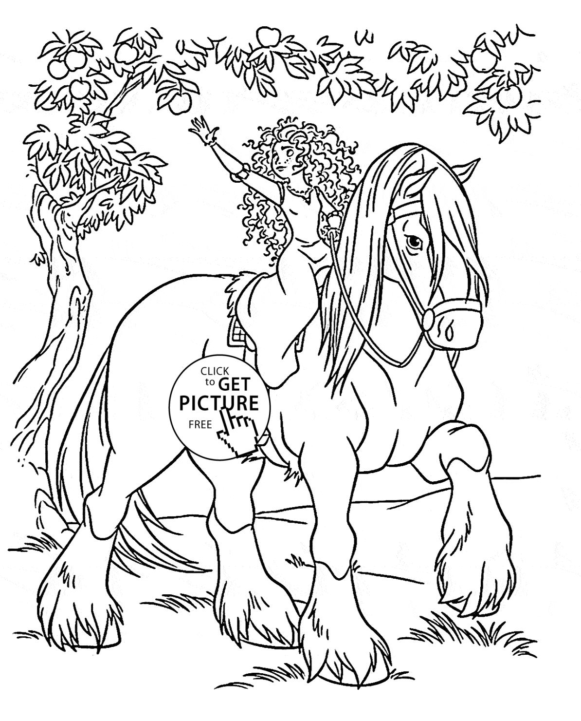 disney princess coloring pages free to print - disney princess merida rides a horse coloring page for kids disney princess coloring pages printables free