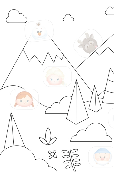 Disneyland Coloring Pages - Coloriage Tsum Tsum Montagne
