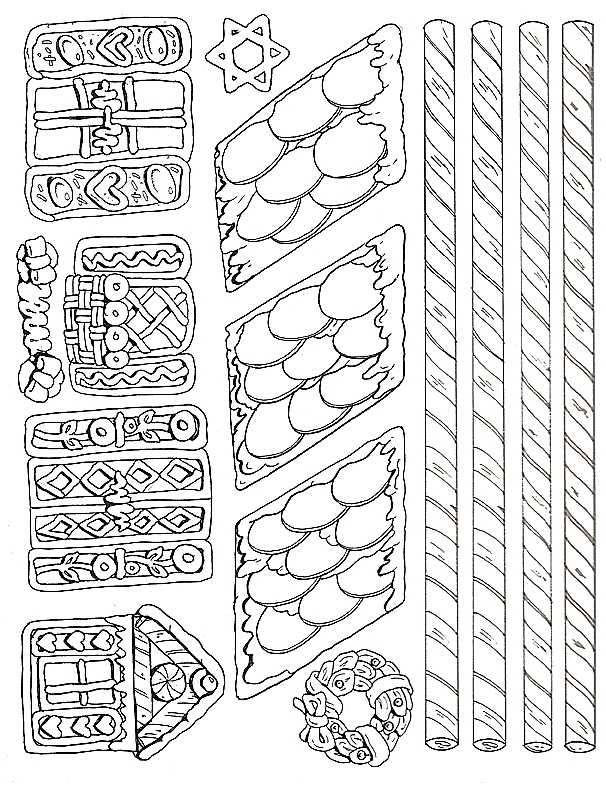 doll coloring pages - gingerbread house more pieces
