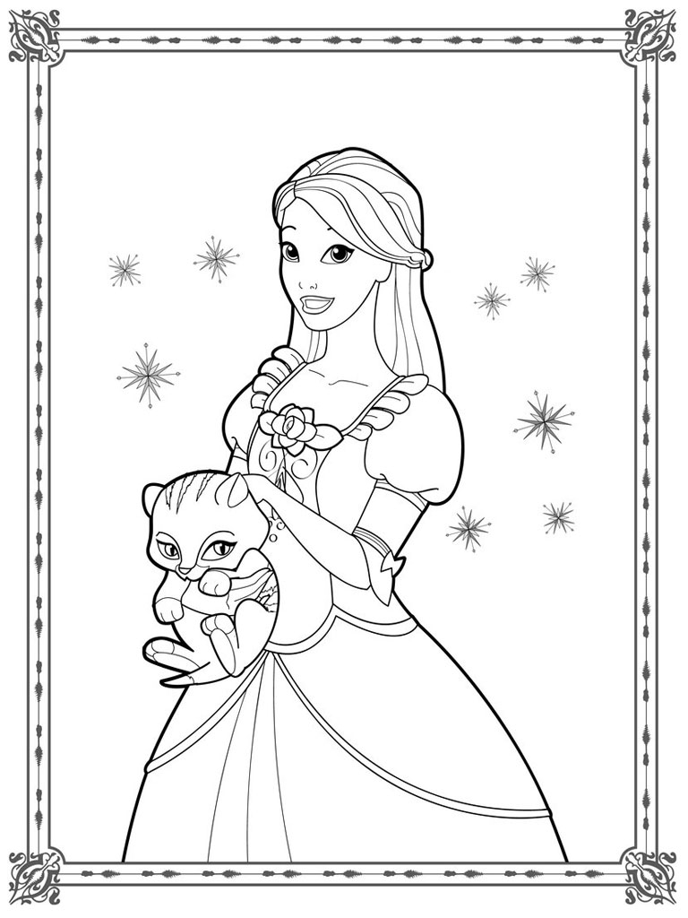 doll coloring pages - pencil sketches of barbie dolls