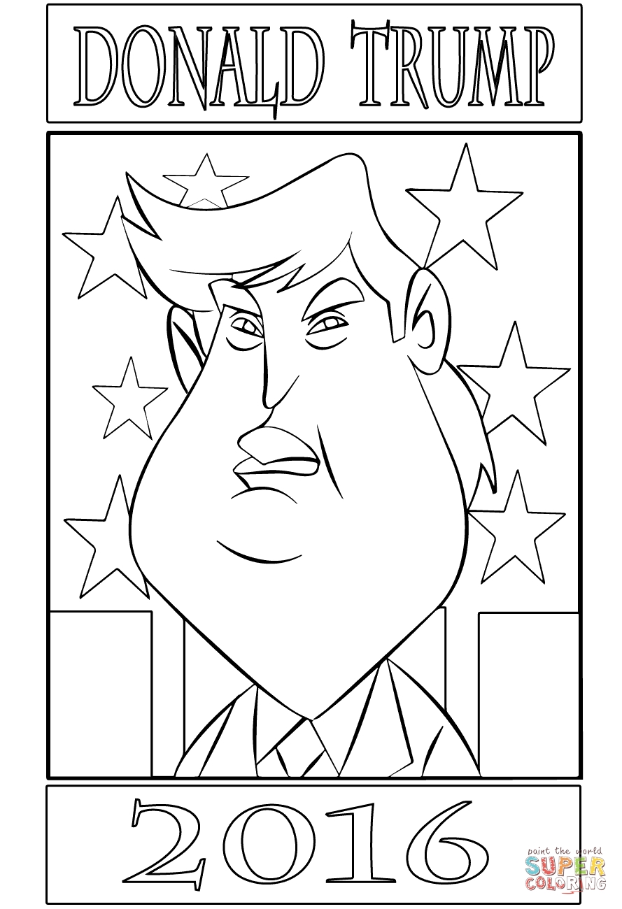 Donald Trump Coloring Pages - Ausmalbild Donald Trump 2016