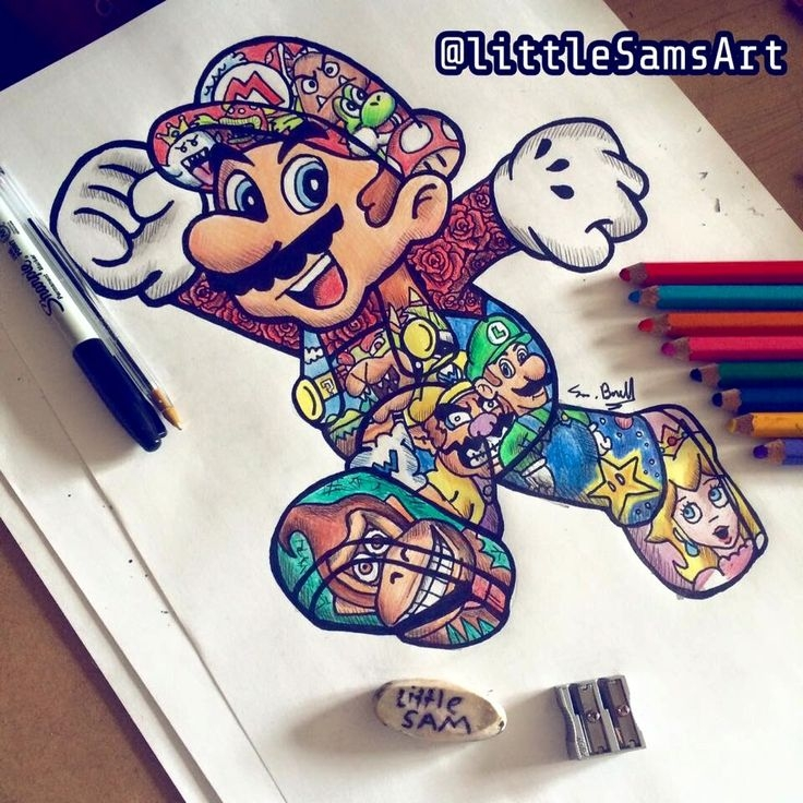 donkey kong coloring pages - super mario tattoo