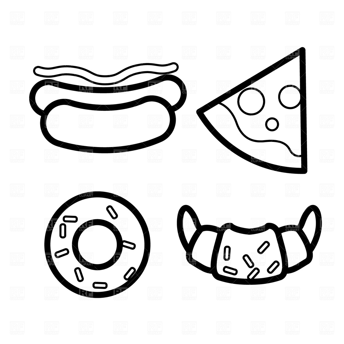 donut coloring page - big donut clipart black and white