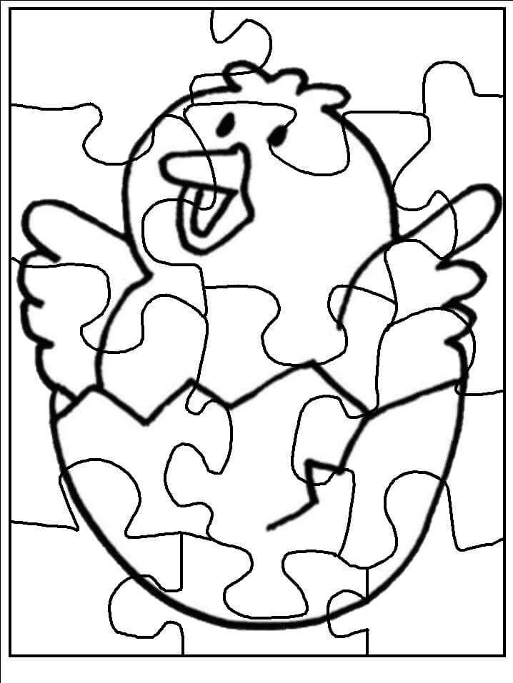 donut coloring page - puzzle coloring pages to print chick 2