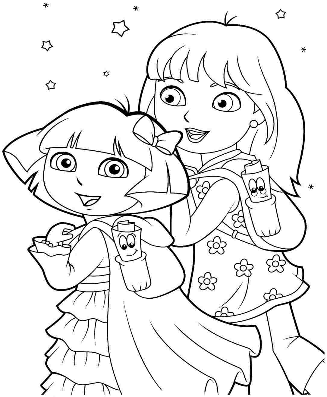 dora and friends coloring pages - printable coloring pages dora and friends into the city sketch templates
