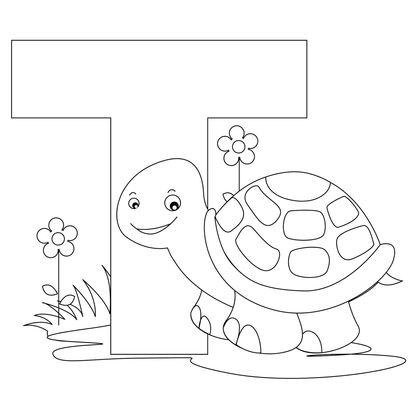 dora coloring pages - letter t coloring page