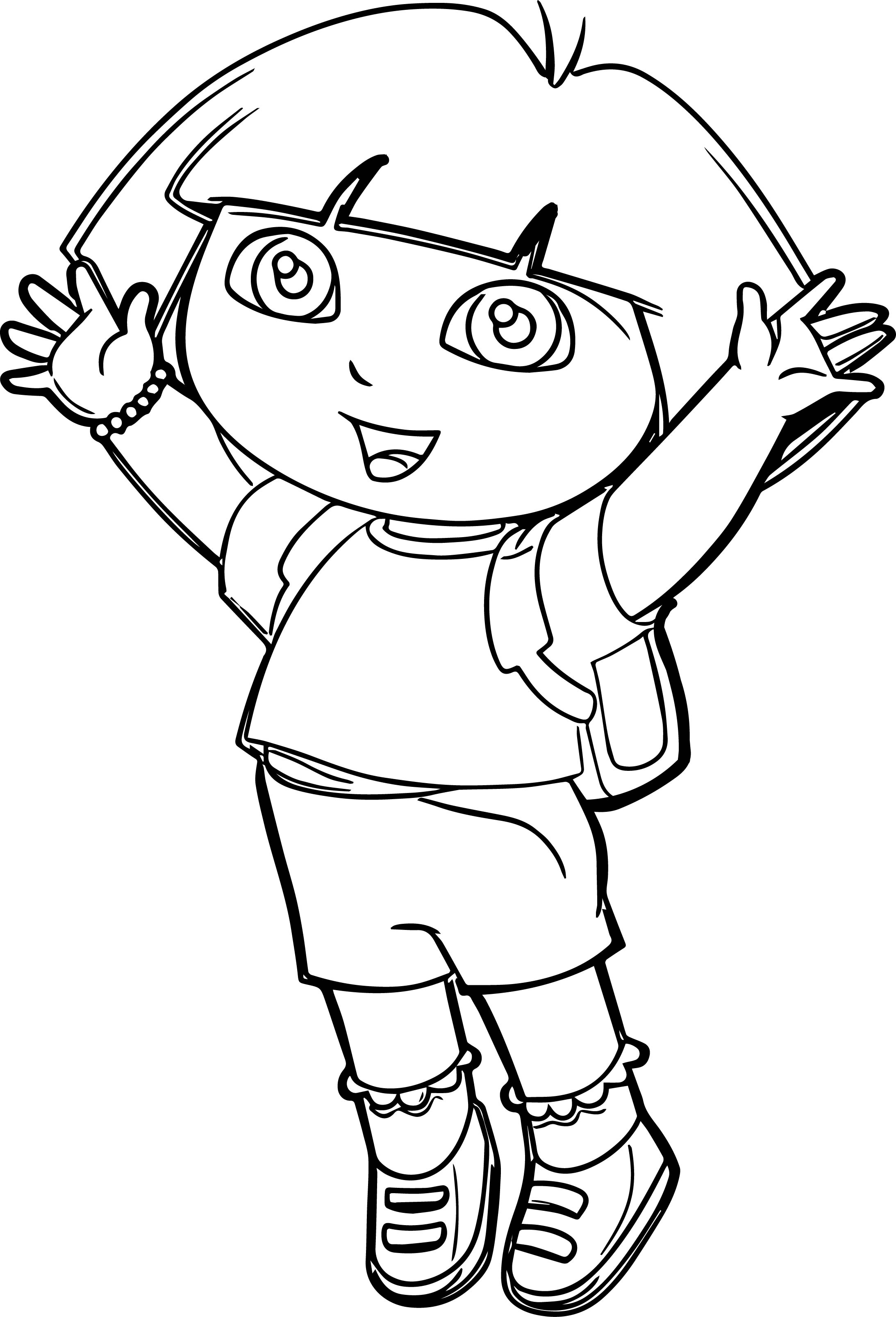 dora the explorer coloring pages - dora explorer going school coloring page