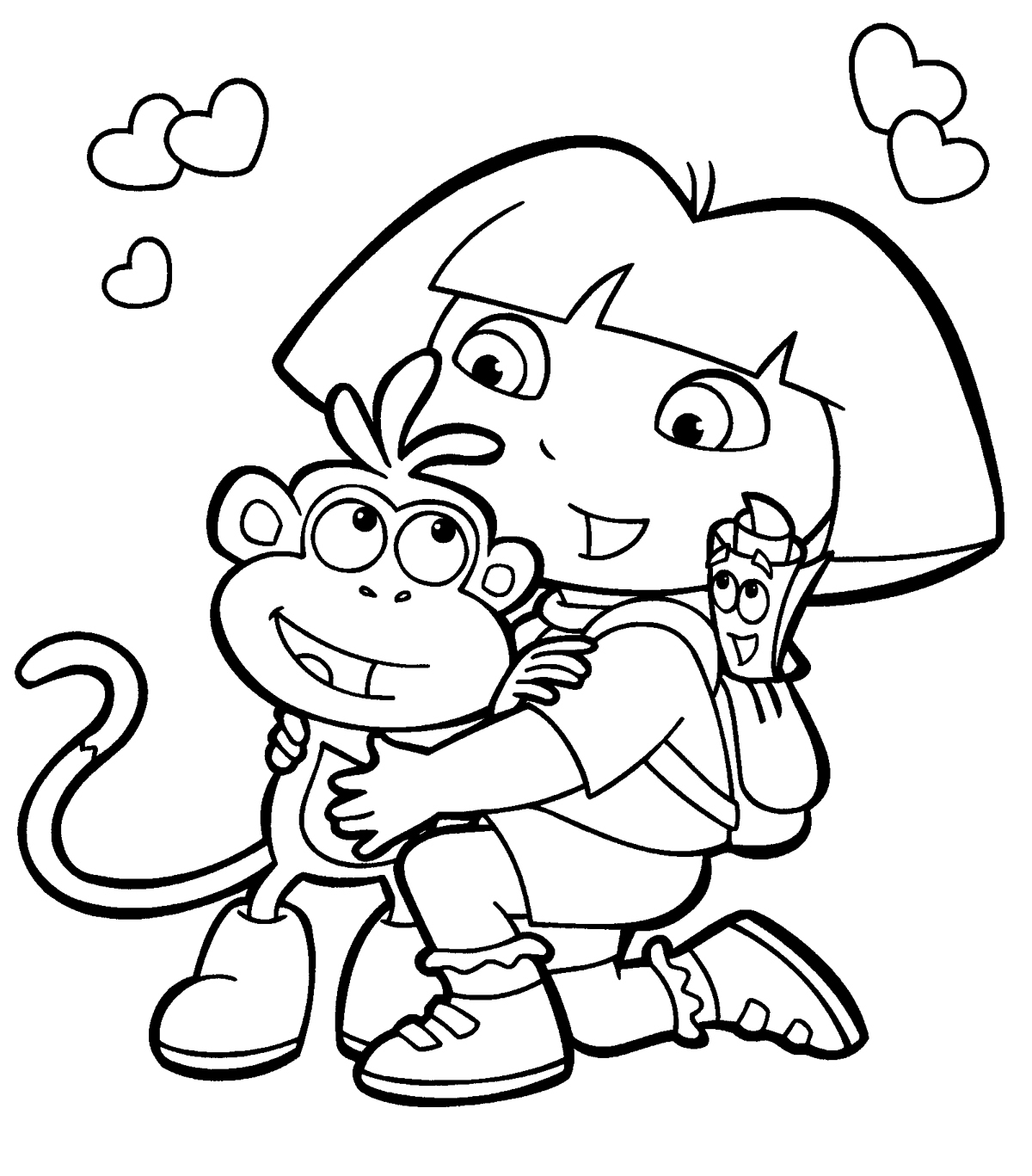 Dora the Explorer Coloring Pages - Free Printable Dora the Explorer Coloring Pages for Kids
