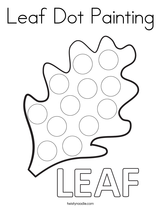 dot coloring pages - leaf dot painting coloring page