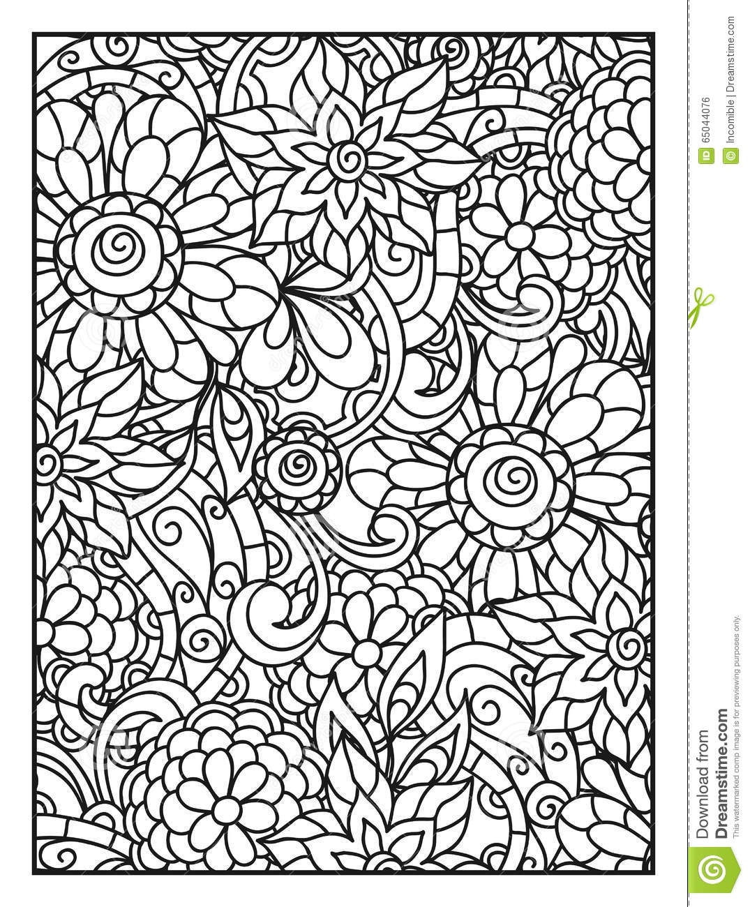 downloadable adult coloring pages - stock illustration background line flowers adult coloring page printing drawing image