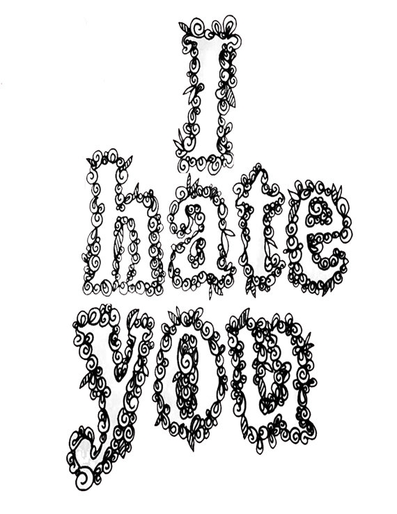 downloadable adult coloring pages - i hate you printable adult coloring book