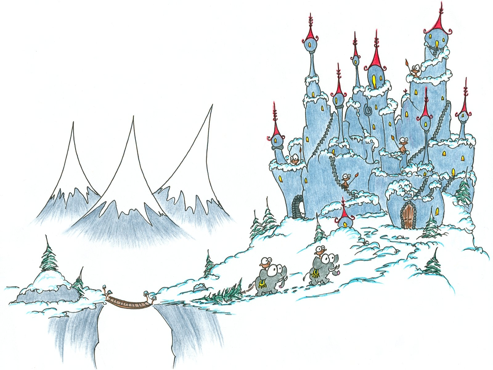 dr seuss coloring pages - screen background monkeys returning to a castle with a large christmas tree