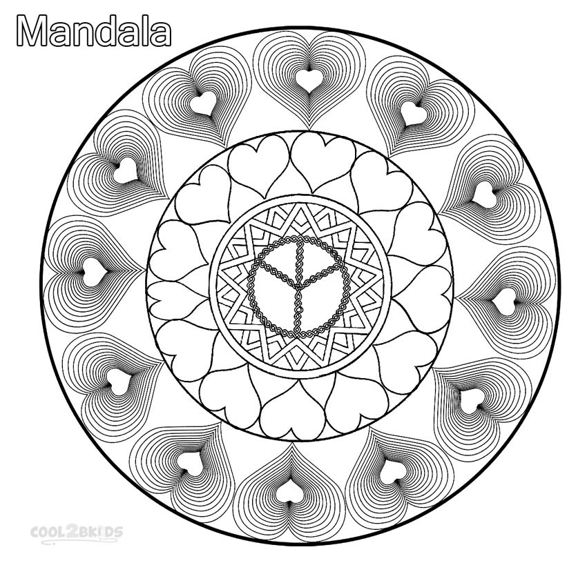 dragon coloring pages for adults - love mandala coloring pages