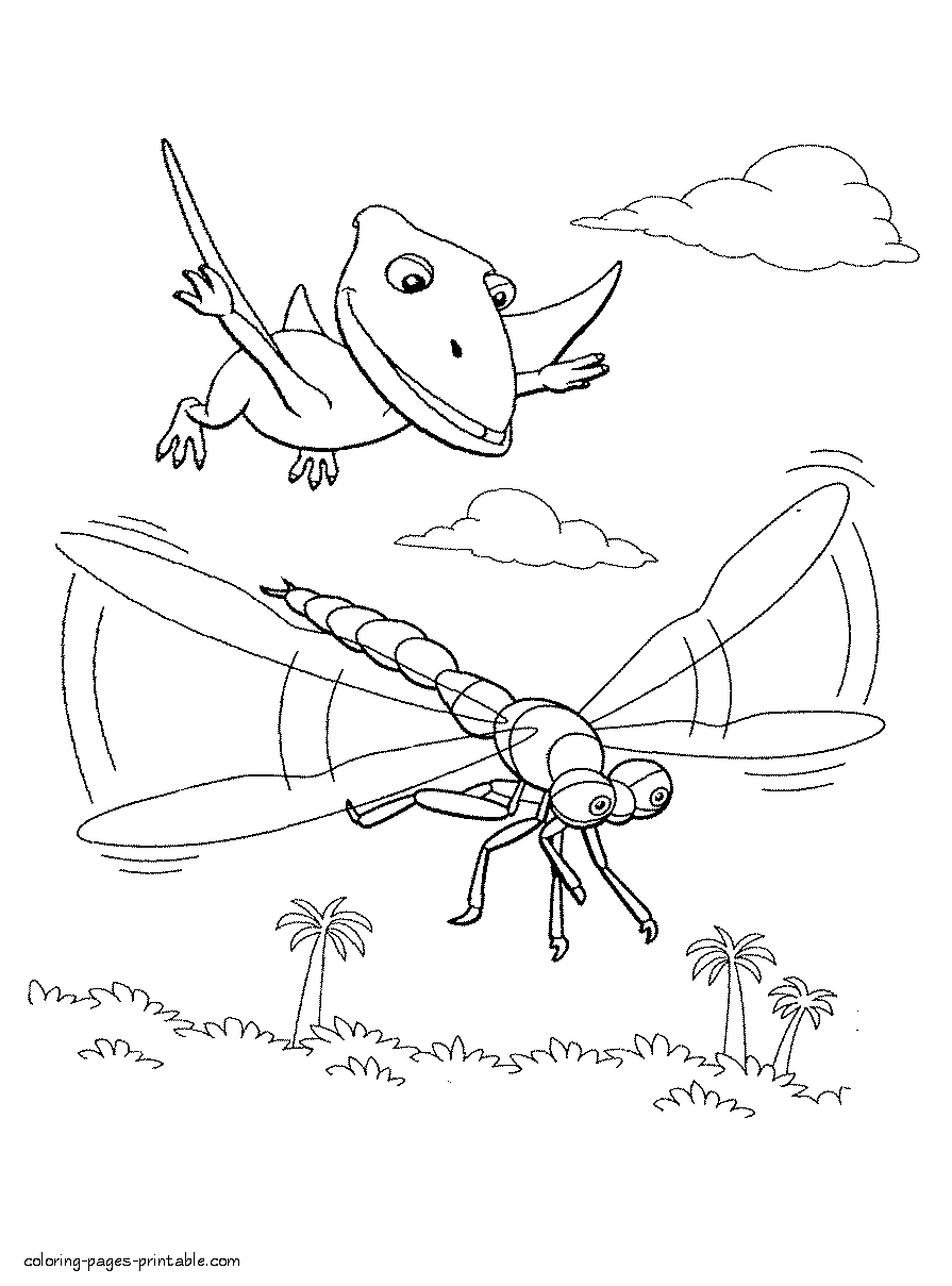 Dragonfly Coloring Page - Pteranodon and Dragonfly Coloring