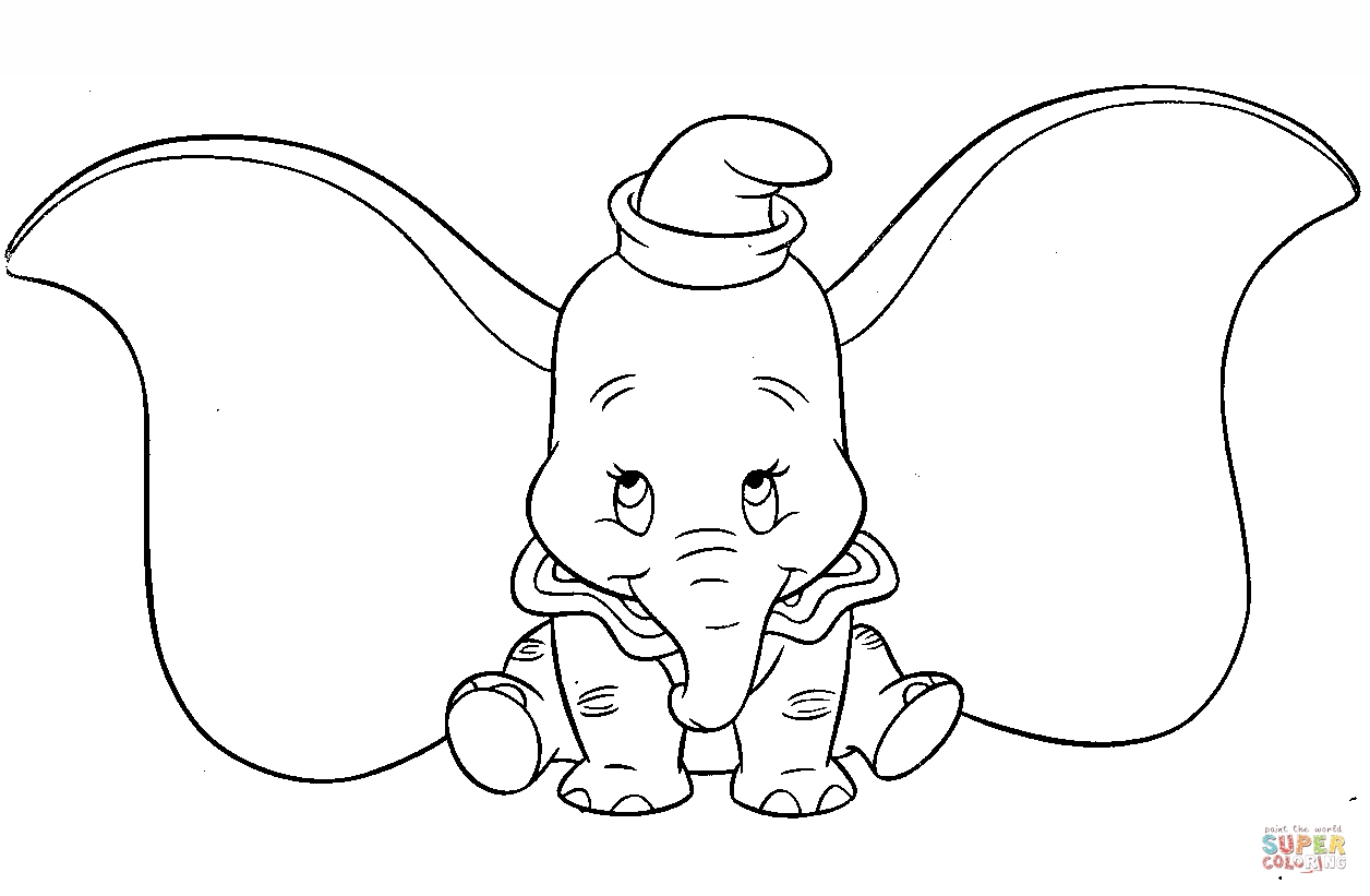 drawing coloring pages - cute dumbo