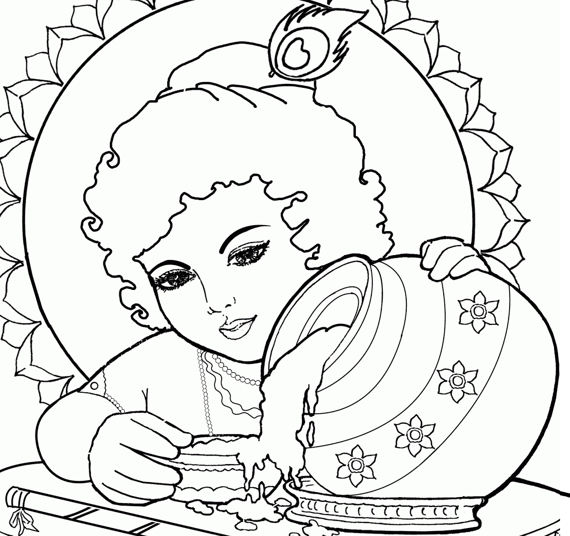 drawing coloring pages - lord baby krishna coloring drawing free