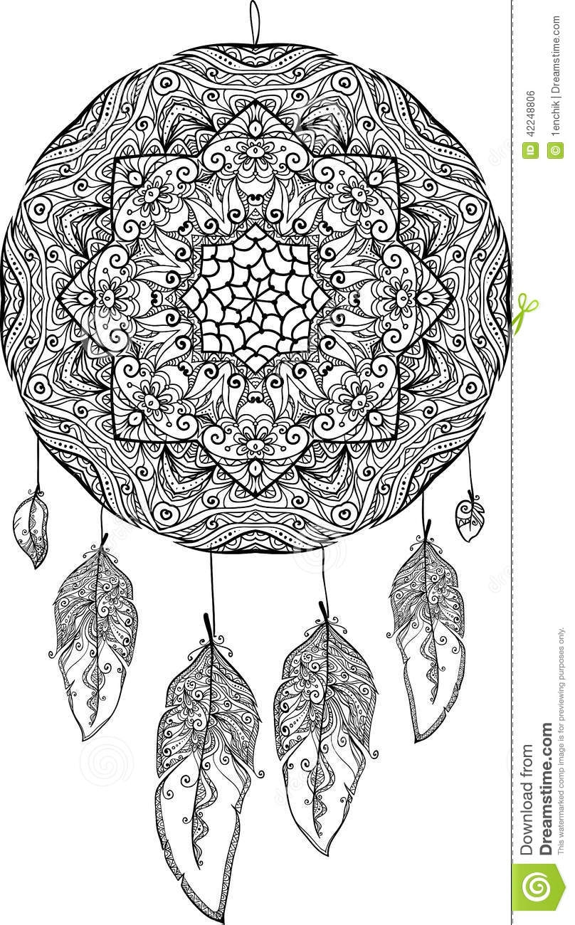 dream catcher coloring pages - stock illustration black white doodle dream catcher feathers image