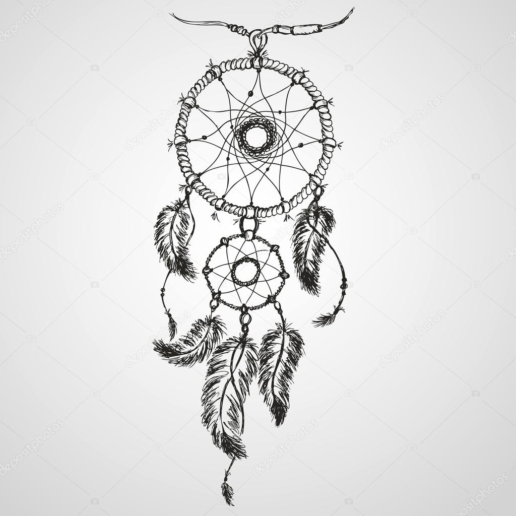 dream catcher coloring pages - stock illustration dreamcatcher feathers and beads