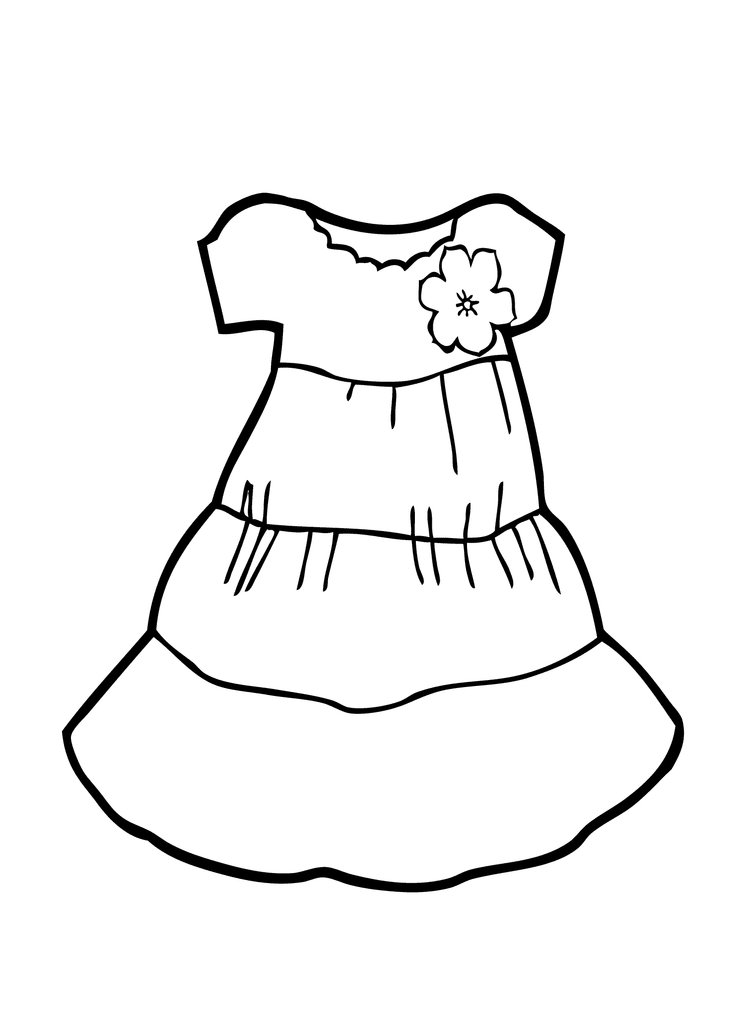 Dress Coloring Pages - Light Dress Coloring Page for Girls Printable Free